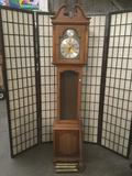 Ridgeway Tempus Fugit grandfather clock w/weights, pendulum, key, & other requisite parts, untested,