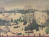Festive holiday framed print of Out for the Christmas Trees by Grandma Moses.