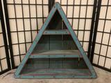Traiangluar painted wood folk art display shelf with 3 shelves, approx 31x26x6 inches. BK