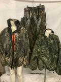 4 piece lot of camouflage outdoor gear; Duxbak reversible fleece 1/4 zip pullover (approx size