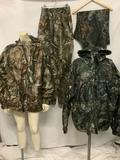 4 piece lot of camouflage outdoor gear; Onyx camo jacket (size XL), Onyx camo pants (size Large),