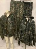 4 piece lot of camouflage outdoor gear; Rocky waterproof Scent IQ hooded jacket (size Large),