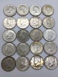 Collection of 20 1964 silver Kennedy half dollars. MB