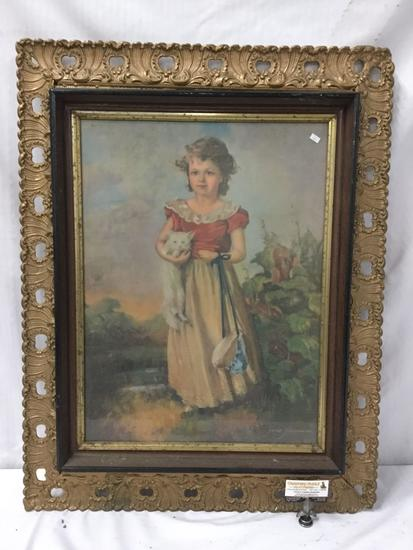 Vintage Jane Freeman's Chums print in ornate gesso frame - fair cond