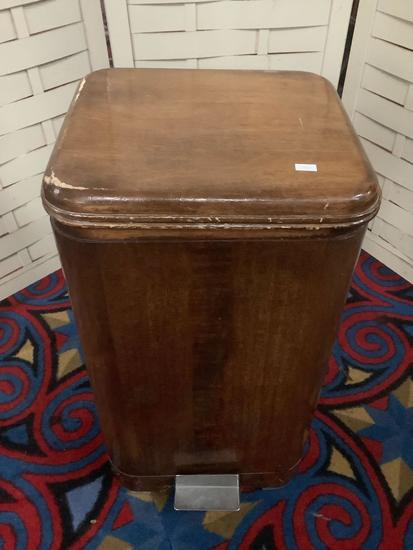 Vintage wooden trash can with step activated lid, approx 13 x 12 x 24 inches.