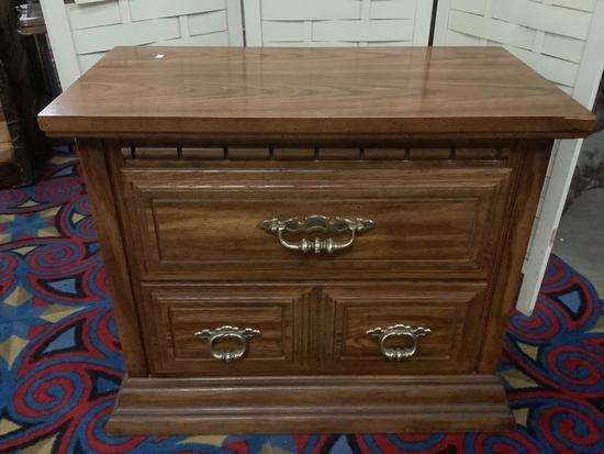Vintage wood 2 drawer nightstand, approx 29 x 15 x 24 inches.