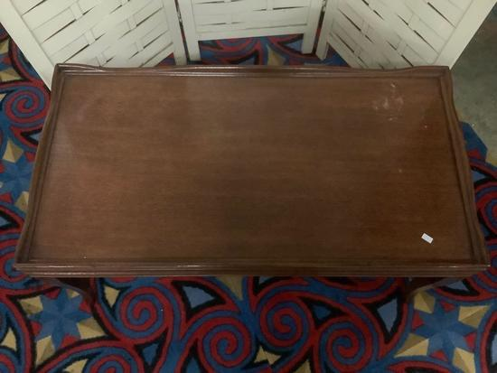 Vintage wood coffee table, approx 36 x 19 x 17 inches