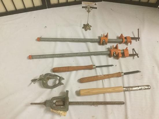 7 hand tools, 2x Pony clamps, Delta Drill Press bit, 2x Craftsmen hand tools, and more!