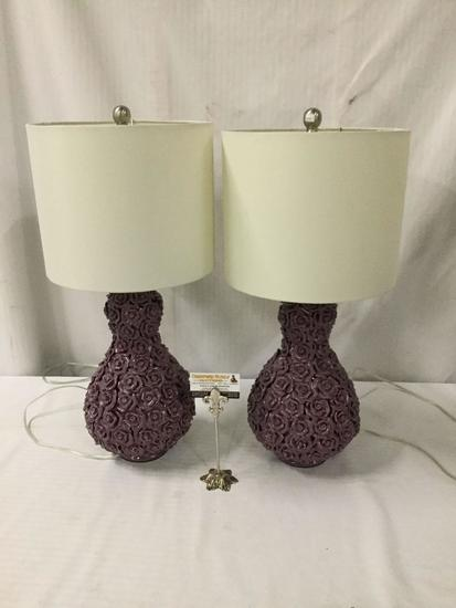 Pair of purple ceramic rose lamps.