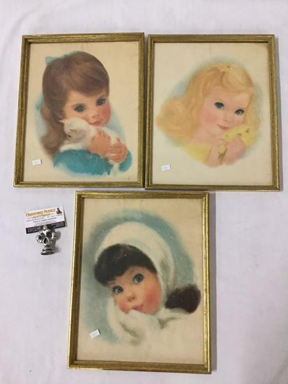 Collection of 3 unsigned prints of children. They measure approx 15x12 inches