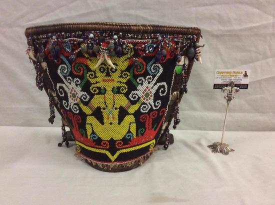 Amazing handmade beaded tribal woven wood half basket/ centerpiece display