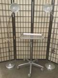 Two metal floor lamps and a PSS Select metal cart w/tray, tested and working