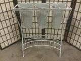 Metal three pot planter stand, approx. 26x11x31 inches.