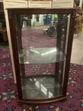 Pulaski Furniture slider curio side-loading cabinet with glass shelves, mirror back is broken.