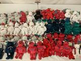 Huge collection of 57 Salvinos Bammers Major League Baseball signature series numbered beanie bears