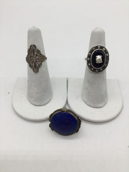 3 rings. One sterling silver, antique blue Lapis, and sterling Art Deco.