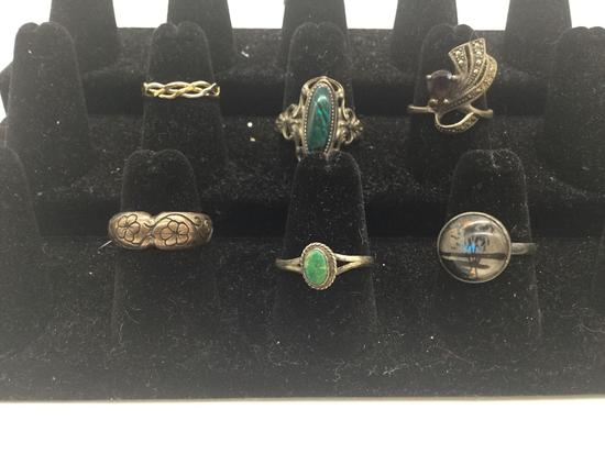 5 sterling silver vintage and modern rings, and one 14k gold filled ring.