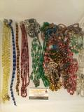 Large lot of estate jewelry , colorful beaded necklaces