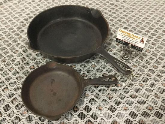 Pair of antique Griswold large logo cast iron pans. 710AX and 703 Size 9 and 3.