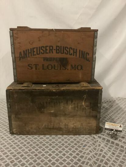 Lot of 2 Vintage/antique Anheuser-Busch Inc. (St. Louis, MO) 1876-1976 wooden beer crate