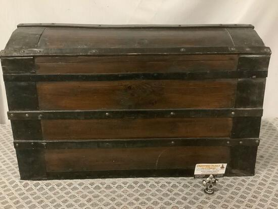Antique wooden chest / trunk with metal handles, approx 30 x 16 x 18 inches.