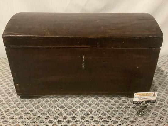 Antique locking wood chest/ trunk with 1 key, approx 23x13x13 inches.