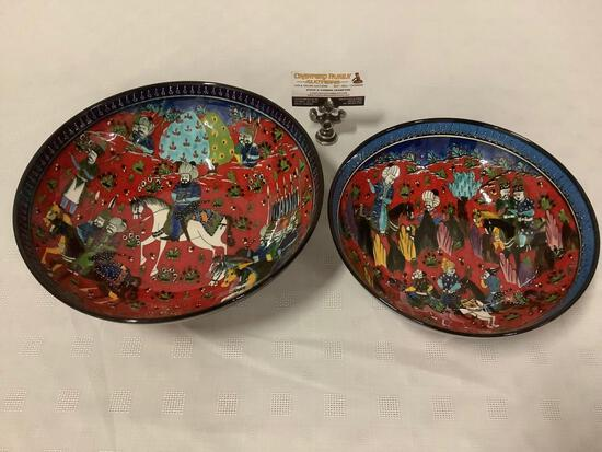 Pair of special handmade Turkish art bowls - modeled after original 16th century ottoman designs