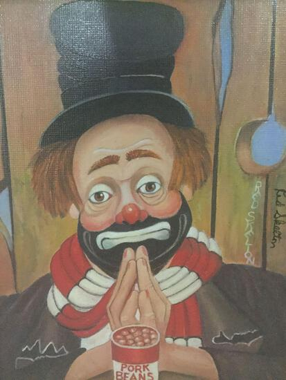 My Thanks - framed Red Skelton ltd ed repro canvas print w/COA, #'d 1028/5000, & signed