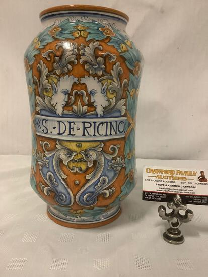 Hand painted Italian S. De Ricino vase signed Dipito-o-Mono N.G. Dervta, approx 7x12 inches.