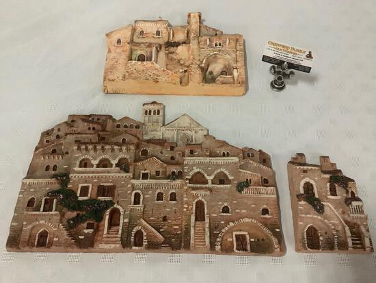 Lot of 3 French handmade clay village scene hanging art pieces, signed by artist, largest has repair