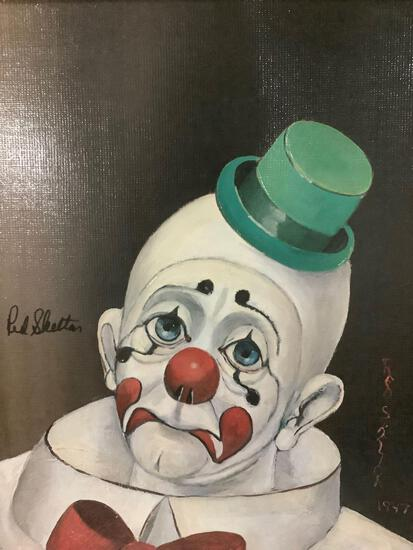 Sad Face Clown - framed Red Skelton ltd ed repro canvas print w/COA, #'d 492/5000, & signed