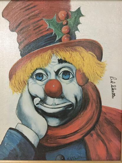 Holly Clown - framed Red Skelton ltd ed repro canvas print w/COA, #'d 667/5000, & signed