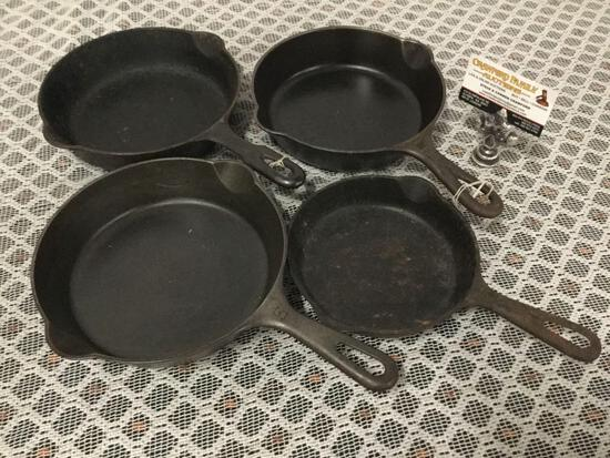 Collection of 3 Griswold small logo, and one Griswold Iron Mountain cast iron pans.