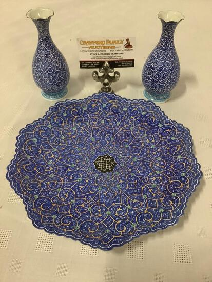3 piece set of vintage Persian metal home decor: 2x bud flower vases and matching wall hanging plate