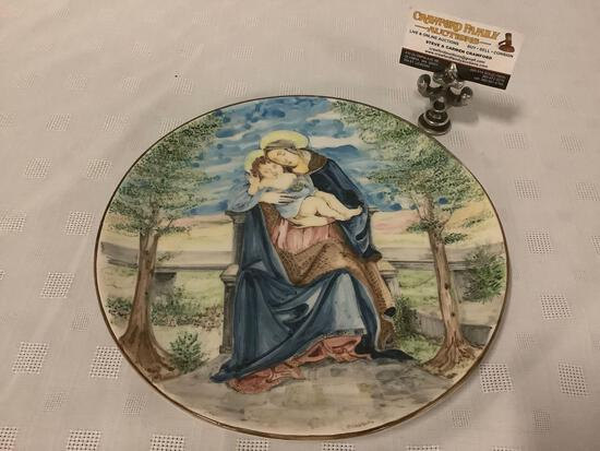 Hand painted ceramic plate feat. Madonna and Child, signed by artist: P. Severino