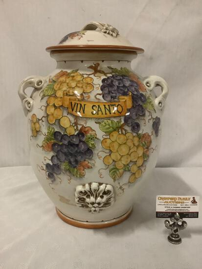 Mid-Century large Italian hand painted urn with lid, Vin Santo, signed by artist, approx 13x13x19 in