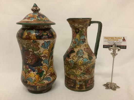 2 vintage floral pattern hand painted Italian ceramic urn w/ lid and pitcher, signed by artist