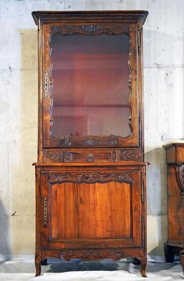Antique French 2 piece wood carved display hutch with locking cabinets and 1 drawer