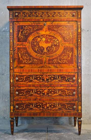 Antique Sorento drop-front lighted bar cabinet w/ intricate wood inlay work & floral design
