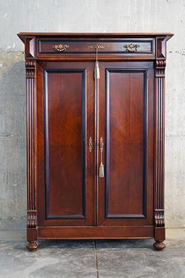 Antique Austrian/ German (?) linen cabinet w/ 2 keys, approx 37x17x53 inches....