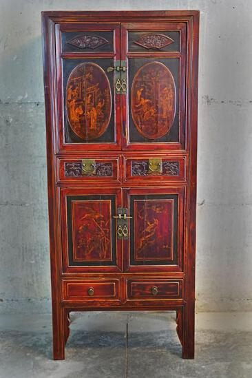 Antique 4-drawer 2-cupboard Chinese cabinet with bird design and scenes of Chinese life