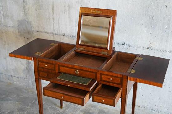 Antique French ladies dressing table with wood inlay, approx 31x16x29 inches