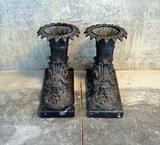 Pair of antique Italian bronze flame holder art pieces w/busts of Poseidon & marble bases