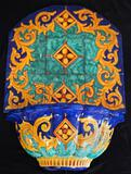 Italian blue & yellow hand painted fountain w/ Sintopress hand painted tiles