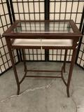 Vintage wood glass top locking display table with 1 key, approx 23x16x28 inches.