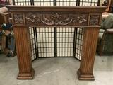 Wood carved fireplace mantle, approx 8 x 48 x 54 inches. Shows minor wear, see pics.