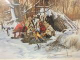 Hand signed and numbered print of Sharing with Friends by Paul Calle. 1351/3000. w/ COA 35x27 inches