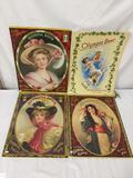 Set of 4 vintage Olympia beer advertising cardboard posters. approx 26x19.5 inches.
