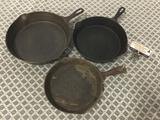 2 antique arched logo Wagner and Wagner National cast iron pans. Sizes 10, 8, and 6.