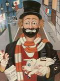 The Banker - framed Red Skelton ltd ed repro canvas print w/COA, #'d 1341/5000 & signed